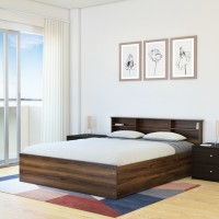 Flipkart Perfect Homes Opus Engineered Wood Queen Box Bed(Finish Color -  Melamine Walnut)