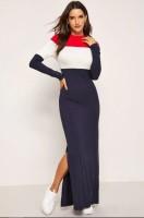 C C Clothing Blue Long Cotton Hosiery Full Sleeve Dress For Women