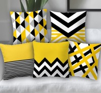 Sb interio Striped Cushions Cover(Pack of 5, 40 cm*40 cm, Yellow, Black, White)