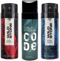 Wild Stone ULTRA SENSUAL DEODORANT 150 ML+ CODE STEAL DEODORANT 120 ML+ HYDRA ENERGY DEODORANT 150 ML Body Spray  -  For Men(420 ml, Pack of 3)
