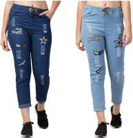 Funday Fashion Jogger Fit Women Light Blue, Dark Blue Jeans(Pack of 2)