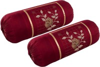 Shopway Collection Embroidered Bolsters Cover(Pack of 2, 38 cm*75 cm, Maroon)