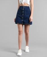 Kotty Solid Women Straight Dark Blue Skirt