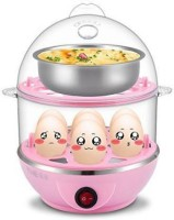 NKZ Multi-Function 2 Layer Electric Food and Egg Cooker Boilers & Steamer Egg Cooker(0.5 L, Pink)