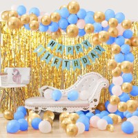 AZEFFIA Solid Happy Birthday Pink Paper Banner with Metallic Balloons & Party Decorative Golden Foil Curtain for Girls Party Decoration / 1st Birthday Decorations Kit for Baby Girl Balloon (Multicolor, Pack of 33) Balloon(Multicolor, Pack of 33)