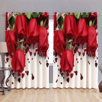 khalsa furnishing 152 cm (5 ft) Polyester Window Curtain (Pack Of 2)(Printed, Red)