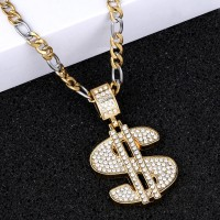 SILVER SHINE Classic designer Doller Sign Pendent Chain For Man And Boy