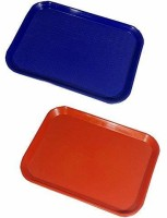 Everbuy Unbreakable, Plastic Serving Tray Platter Rectangular Shape Plastic Trays for Drink Breakfast Tea Dinner Coffee Salad Food for Dinning Table Home Kitchen 11x14 Inches ( color: Blue and Red ) Set of 2 trays Tray(2 Tray)