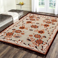 R A F Z Orange Cotton Carpet(137 cm  X 183 cm)
