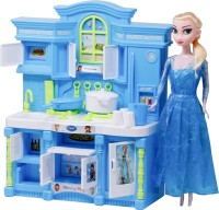 FIDDLERZ Household Kitchen Play Set and Doll with Light and Music and Opening Doors for Girls   Modern Kitchen Set (Blue)