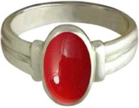 Classics jewelry Coral Ring with Natural Moonga Certified Astrological Stone Copper Coral Silver Plated Ring