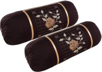 Shopway Collection Embroidered Bolsters Cover(Pack of 2, 38 cm*75 cm, Brown)