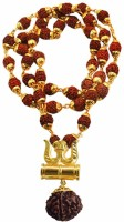 Rudram Rudraksha Mala Gold and Brown Wood and Brass Om Pendant Necklace for Men Women Wood