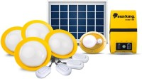 Sun king Home 120 Plus, 4 Solar Ceiling Lights with 1 Portable Motion Sensor Lamp and USB Mobile Charging Solar Light Set(Ceiling Mounted Pack of 1)