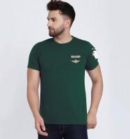 VERO LIE Solid Men Round Neck Dark Green T-Shirt