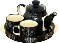 Bobby Designs Pack of 4 Ceramic Ceramic Tea Set, Black Tea Set with Kettle, Kettle Set with Cup and Tray, Kettle Set of 4(Black)