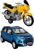Giftary Pack Of 2 Small Size Made From Plastic Indian Replica Indian Motor Cycle Toy + Indian Popular SUV Car Toys For Boys|Playing Toys For Kids|Use As Showpieces|(2 Combo Offer)(Multicolor, Pack of: 2)