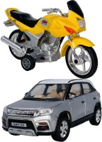 Giftary Pack Of 2 Small Size Made From Plastic Indian Miniature Indian Motor Bike Toy + Indian Famous Car Toys For Babies|Playing Toys For Children| Very Small Size|(2 Combo Offer)(Yellow, Silver, Pack of: 2)