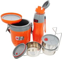 cello Lunch Express Insulated Tiffin & Water Bottle, 2 PCS Set, Orange 3 Containers Lunch Box(800 ml)