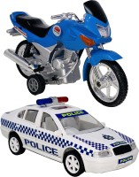 Giftary Set Of 2 Small Size Made Of Plastic Indian Miniature Indian Motor Bike Toy + Australian Police Car Toys For Babies|Toys For Children|Made In India|(2 Combo Offer)(Blue, White, Pack of: 2)