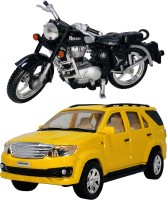 Miniature Mart 2 Small Size Plastic Made Indian Replica Indian Automobile Model Indian Motor Cycle Toys + Indian Famous SUV Car Toys For Kids| Playing Toys For Children|Use As Showpieces( 2 Combo Offer)(Black, Yellow, Pack of: 2)