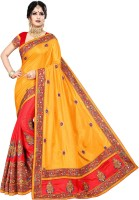 Krishna R fashion Embroidered Bollywood Poly Silk Saree(Red, Yellow)
