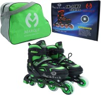 cktech Children's Inline Skates Unisex Indoor and Outdoor Adjustable Size Roller Shoes Children's Flash ABEC-7 Bearing Wheel Best for Boys and Girls Gifts Full Edition Inline Skating with Bag - Green In-line Skates - Size 7-9 UK(Green)