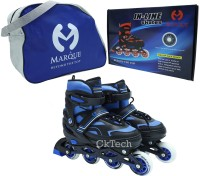 cktech Children's Inline Skates Unisex Indoor and Outdoor Adjustable Size Roller Shoes Children's Flash ABEC-7 Bearing Wheel Best for Boys and Girls Gifts Full Edition Inline Skating with Bag - Blue In-line Skates - Size 7-9 UK(Blue)