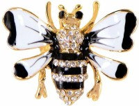 STRIPES White/Black/Gold Bumble Bee Brooch for Unisex Brooch(Multicolor)