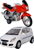 Giftary Pack Of 2 Small Size Made From Plastic Indian Miniature Indian Motor Cycle Toy + Ritz Mini Car Toys For Babies|Playing Toys For Kids|Made In India|(2 Combo Offer)(Red, White, Pack of: 2)