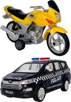 Giftary Pack Of 2 Small Size Made From Plastic Indian Replica Indian Motor Bike Toy + Police Interceptor Car Toys For Babies|Playing Toys For Children|Use As Showpieces|(2 Combo Offer)(Yellow, Black, Pack of: 2)