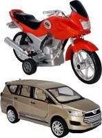 Giftary 2 Small Size Plastic Made Indian Automobile Indian Street Bike Toy + Indian SUV Car Toys For Babies|Playing Toys For Children|Made In India|(2 Combo Offer)(Red, Gold, Pack of: 2)