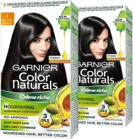 Garnier Color Naturals Crme Hair Color - Shade 1 Natural Black, 140ml+120g (Pack of 2) , Shade 1 Natral Black