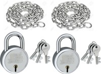 Hilife 4 Feet 7 MM Metal Chain & 65 MM Padlock (Silver) Chain Lock(Silver)