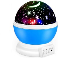 LINVILA Star Night Light, Moon Stars Projector, Rotating 9 Color Options Romantic Night Lighting Lamp, USB Cable/Batteries Powered for Nursery, Bedroom Baby Night Lights for Kids Night Lamp(15 cm, Multicolor)