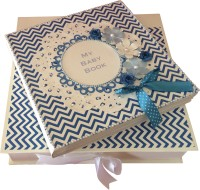 Crack of Dawn Crafts Baby Scrapbook Record Book/ Gift- 18 topics Keepsake(Blue)