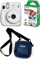 FUJIFILM Instax Mini 11 White with Pouch and 10 Shot film Instant Camera(White)