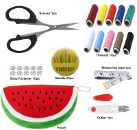 KYP Fashion Multipurpose Mini Sewing Kit for Home Office Institute School Carrying Pouch with Randomly Multicolor Threads Needle Scissor Measuring Tape Cutter Titch Button Snap Fasteners tich Combo (Set of 7pc) Sewing Kit