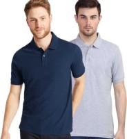 THE DESIGNER Solid Men Collared Neck Multicolor T-Shirt(Pack of 2)