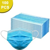 Sugero ISO Certified 100 Units Disposable 3 Ply Pharmaceutical Breathable Surgical Pollution Face Mask with 3 Layer Filtration For Men, Women, Kids SG0008-100 Surgical Mask(Blue, Free Size, Pack of 100, 3 Ply)