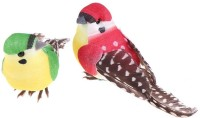 R H lifestyle Pack of 2 Multicolored DIY Artificial Small Bird for Decoration Craft Simulation Home Decor Table Bookshelf Ornamental