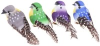 R H lifestyle Pack of 4 Multicolored DIY Artificial Small Bird for Decoration Craft Simulation Home Decor Table Bookshelf Ornamental