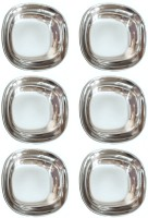 KAY ESS Set of six Latest Design Small Stainless Steel small halwa Dessert Sweet Dish Quarter Plate ( diamater 4.4 inch) Heavy Gauge with Mirror Finish Tray(6 Tray)