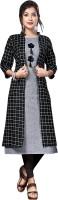 anushansa Women Printed Straight Kurta(Grey, Black)