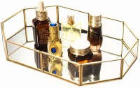 Ruhi Collections Octagon Glass with Brass Rim Mirror Base Vanity Makeup Tray for Home Decor Jewelry Organiser, Golden Tray(Tray)