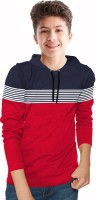 BLIVE Boys Striped Cotton Blend T Shirt(Red, Pack of 1)