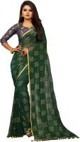3SIX5 Embellished Daily Wear Chiffon Saree(Dark Green)