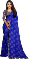 3SIX5 Embellished Daily Wear Chiffon Saree(Blue)