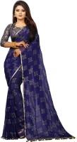 3SIX5 Embellished Daily Wear Chiffon Saree(Dark Blue)