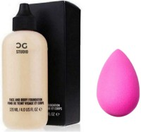 Crazy girl Professional waterproof foundation for all skin tone with makeup blender (set of 2) Foundation(cream, 120 ml)